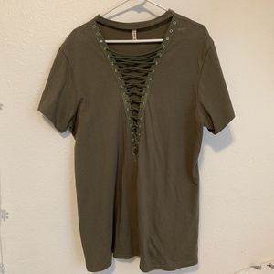 Emma and Sam army green shirt/dress from LF
